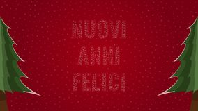 Happy New Year text in Italian 'Nuovi Anni Felici' filled with text on a red snowy background with trees on sides. Happy New Year text in Italian 'Nuovi Anni vector illustration