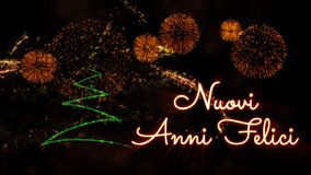 Happy New Year text in Italian \'Nuovi Anni Felici\' over pine tre. Happy New Year text in Italian 'Nuovi Anni Felici' over pine tree with sparkling particles royalty free stock image
