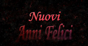 Happy New Year text in Italian Nuovi anni felici turns to dust Royalty Free Stock Photos