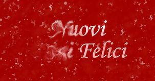 Happy New Year text in Italian Nuovi anni felici turns to dust. From left on red background Stock Illustration