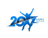 Happy new year 2017 text with jumping men illustration Royalty Free Stock Photo