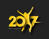 Happy new year 2017 text with jumping men illustration Royalty Free Stock Images