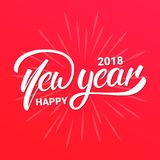 Happy New Year 2018 text lettering design. Christmas and New Year greeting typography.  Stock Photography