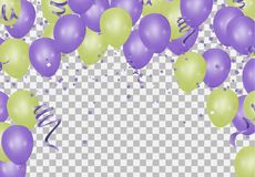 Happy New Year text, lettering for greeting cards, banners, post. Ers, isolated vector illustration with balloons. Confetti and ribbons flag ribbons, Celebration royalty free illustration