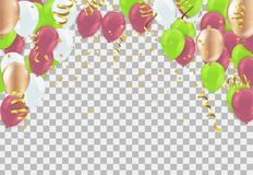 Happy New Year text, lettering for greeting cards, banners, post. Ers, isolated vector illustration with balloons. Confetti and ribbons flag ribbons, Celebration stock illustration