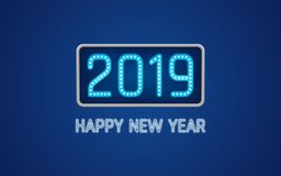 Happy new year 2019 text in light bulb board with bright neon on blue color background vector illustration