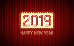 Happy new year 2019 text in light bulb cinema banner board with bright neon on red curtain background royalty free illustration