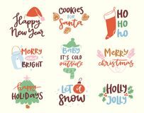 2018 happy New Year text logo badge lettering holiday. Calendar print design Merry Christmas newborn party illustration. New Year 2018 logotype set Royalty Free Stock Photo