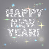Happy New year text. Made with snowballs Royalty Free Stock Photography