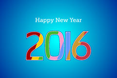 Happy new year 2016 text. Year 2016 text in multicolors on Blue Background Stock Photo