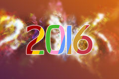 Happy new year 2016 text. Year 2016 text in multicolors on Blue Background Royalty Free Stock Images