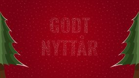Happy New Year text in Norwegian 'Godt Nyttar' filled with text on a red snowy background with trees on sides. Happy New Year text in Norwegian 'Godt Nyttar' vector illustration
