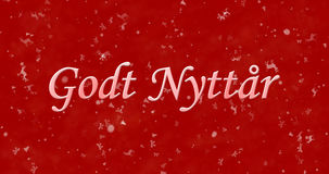 Happy New Year text in Norwegian. `Godt nyttar` on red christmas background Vector Illustration