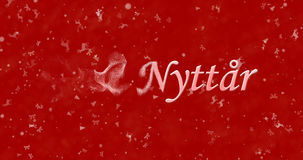 Happy New Year text in Norwegian Godt nyttar turns to dust fro. M left on red background Vector Illustration