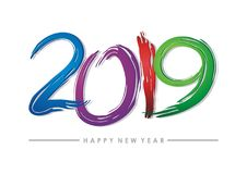 2019 happy new year text - number design. With colorful design, blue, purple, red and green color combination vector illustration