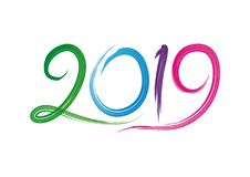 2019 happy new year text - number design. With colorful design, Green, blue, purple, red and Pink color combination Royalty Free Stock Photography
