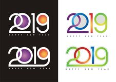 2019 happy new year text - number design. With colorful design, Green, blue, purple, red and Pink color combination Stock Illustration