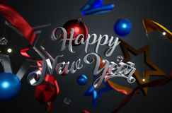 Happy New Year Text Ornament Glass Stars on Dark Background. 3D Rendering Stock Photo