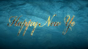 Happy new year text over frozen window stock video footage