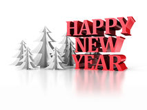 Happy New Year Text With Paper Christmas Trees. 3d Render Illustration stock illustration