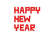 Happy New Year text paper scratch Red and white Stock Image