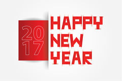 Happy New Year text paper scratch Red and white Royalty Free Stock Photo