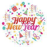 Happy New Year Text with Party Icons Stock Image