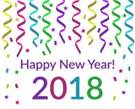 Happy new year text with pink violet yellow green and blue. Happy new year text with pink violet yellow green and blue confetti stars and glitters isolated on Stock Photo