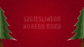 Happy New Year text in Polish 'Szczesliwego Nowego Roku' filled with text on a red snowy background with trees on sides. Happy New Year text in Polish ' vector illustration