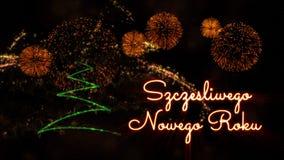 Happy New Year text in Polish \'Szczesliwego Nowego Roku\' over pi. Happy New Year text in Polish 'Szczesliwego Nowego Roku' over pine tree with sparkling stock photo