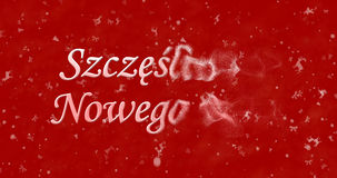 Happy New Year text in Polish Szczesliwego Nowego Roku turns t. O dust from right on red background Vector Illustration