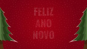 Happy New Year text in Portuguese 'Feliz Ano Novo' filled with text on a red snowy background with trees on sides. Happy New Year text in Portuguese 'Feliz Ano vector illustration