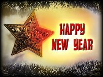 Happy New Year text in red color on christmas tree star toy and garlands background. Greeting card stock illustration