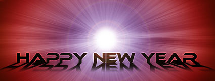 Happy New Year text on the shining space background. Widescreen ratio Royalty Free Stock Photos