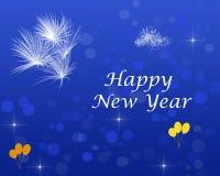 Happy New Year Greeting Shining Stars Fireworks Balloon. Happy New Year text with Shining Stars Fireworks , Balloons Poster, Glittering effect , Wallpaper stock illustration