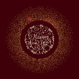 Happy New Year text and Shiny round Composition With Stars And Sparkles on claret background. Hand drawn holiday Royalty Free Stock Photos