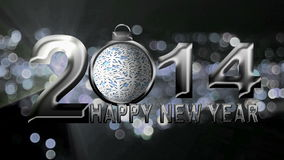 2014 Happy New Year Text with on Silver Festive Background stock footage