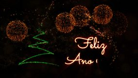 Happy New Year' text in Spanish 'Feliz Ano Nuevo' animation with pine tree and fireworks