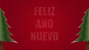 Happy New Year text in Spanish 'Feliz Ano Nuevo' filled with text on a red snowy background with trees on sides. Happy New Year text in Spanish 'Feliz Ano Nuevo vector illustration
