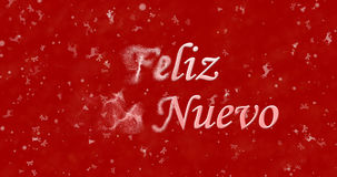 Happy New Year text in Spanish Feliz ano nuevo turns to dust f. Rom left on red background Royalty Free Illustration