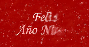 Happy New Year text in Spanish Feliz ano nuevo turns to dust f. Rom right on red background Vector Illustration