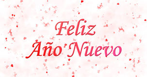Happy New Year text in Spanish Feliz ano nuevo on white backgr. Ound Stock Images