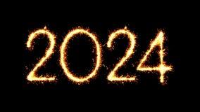 Happy New Year 2024 Text Sparkler Glitter Sparks Firework Loop Animation