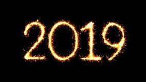 Happy New Year 2019 Text Sparkler Glitter Sparks Firework Loop Animation. Happy New Year 2019 Text Sparkler Writing With Glitter Sparks Particles Firework on stock video footage