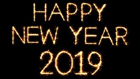 Happy New Year 2019 Text Sparkler Glitter Sparks Firework Loop Animation. Happy New Year 2019 Text Sparkler Writing With Glitter Sparks Particles Firework on stock footage