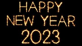 Happy New Year 2023 Text Sparkler Glitter Sparks Firework Loop Animation. Happy New Year 2023 Text Sparkler Writing With Glitter Sparks Particles Firework on stock video