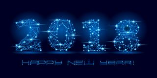 2018 Happy New Year text for card for your design. Vector illustration. Royalty Free Stock Images