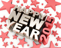 Happy new year 2015. Happy new year text with stars Royalty Free Stock Photo