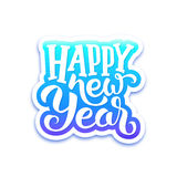 Happy New Year text on sticker with lettering. Happy New Year paper label with typographic text  on white background. Vector greeting card design template for Royalty Free Stock Photos