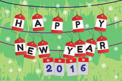 Happy New Year 2016 and text on stitch frame. Royalty Free Stock Images